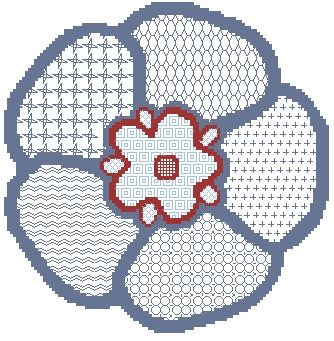 Blackwork Forget Me Not